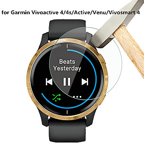 cheap Smartwatch Bands-5 PCS Screen Protector for Garmin Vivoactive 4/4s/Venu/Active/Vivosmart 4 Tempered Glass Transparent High Definition (HD) Scratch Proof/9H Hardness