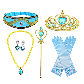 cheap Movie & TV Theme Costumes-Princess Crown Outfits Masquerade Girls' Movie Cosplay Cosplay Halloween Blue Gloves Crown Earrings Halloween Carnival Masquerade Cloth Plastic / Headwear / Necklace / Wand / Necklace / Headwear