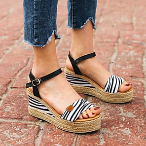 cheap Women's Sandals-Women's Sandals Wedge Sandals Summer Wedge Heel Open Toe Daily Animal Patterned PU White / Brown