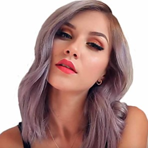 cheap Synthetic Trendy Wigs-Synthetic Wig Curly Matte Side Part Wig Long Dark Purple Synthetic Hair 14 inch Women's Ombre Hair curling Fluffy Purple