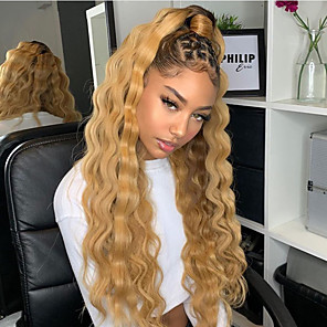 cheap Synthetic Lace Wigs-Synthetic Lace Front Wig Curly Gaga Middle Part Lace Front Wig Blonde Ombre Long Ombre Blonde Synthetic Hair 22-26 inch Women's Heat Resistant Women Hot Sale Blonde Ombre / Glueless