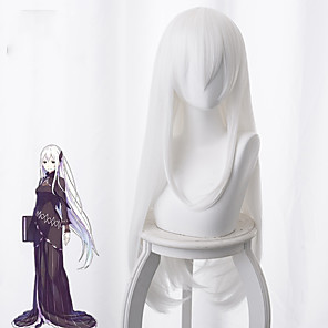cheap Synthetic Trendy Wigs-Re:Zero Starting Life in Another World kara hajimeru isekai seikatsu Cosplay Wigs Women's Asymmetrical 35 inch Heat Resistant Fiber kinky Straight White Adults' Anime Wig