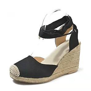 cheap Women's Sandals-Women's Sandals Wedge Sandals Summer Wedge Heel Open Toe Daily PU Black / Red / Beige
