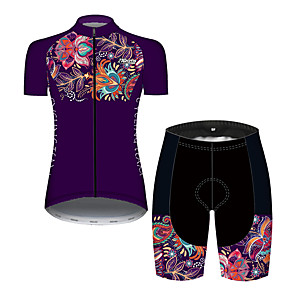 cheap Cycling Jersey & Shorts / Pants Sets-Women's Short Sleeve Cycling Jersey with Shorts Black / Red Bike Breathable Quick Dry Sports Patterned Mountain Bike MTB Road Bike Cycling Clothing Apparel / Micro-elastic