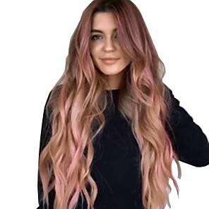cheap Synthetic Trendy Wigs-Synthetic Wig Matte Body Wave Middle Part Wig Very Long Pink / Purple Purple / Blue Synthetic Hair 26 inch Women's Dark Roots curling Fluffy Blue Purple