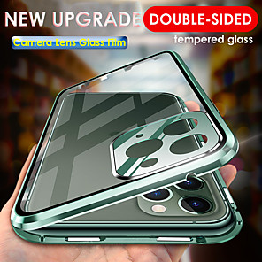cheap iPhone Cases-Magnetic Adsorption Tempered Glass Metal Case for iPhone 11 11 Pro 11 Pro Max Camera Lens Full Protection