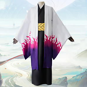 cheap Anime Costumes-Inspired by Demon Slayer: Kimetsu no Yaiba Anime Cosplay Costumes Japanese Cosplay Suits Coat Top Sash / Ribbon For Men's