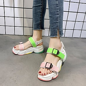 cheap Women's Sandals-Women's Sandals Summer Platform Open Toe Daily PU Black / Pink / Green