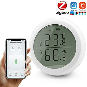 cheap Home Security System-ZigBee Temperature and Humidity Sensor With LCD Screen Display working with TuYa ZigBee Hub Battery Powered Smart Life