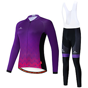 cheap Cycling Jersey & Shorts / Pants Sets-Miloto Women's Long Sleeve Cycling Jersey with Bib Tights White Black Bike Breathable Sports Patterned Mountain Bike MTB Road Bike Cycling Clothing Apparel / Stretchy