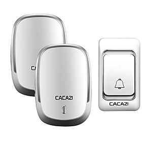 cheap Doorbell Systems-CACAZI Wireless Doorbell DC Battery Door Bell Control Button 200M Remote LED Light Home Cordless Call Bell 4 Volume 36 Chime