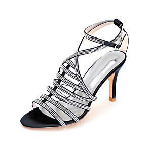 cheap Wedding Shoes-Women's Wedding Shoes Spring / Summer Stiletto Heel Open Toe Minimalism Wedding Party & Evening Sparkling Glitter Solid Colored Satin White / Black / Purple