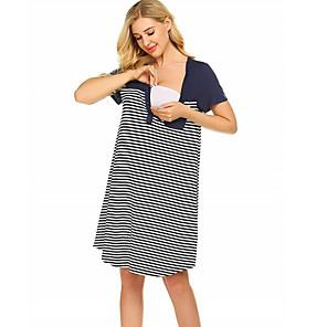 baratos Liquidação-Mulheres Shift Dress Vestido no Joelho - Manga Curta Listrado Verão Casual 2020 Preto Azul Marinha S M L XL XXL