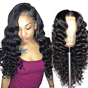 cheap 4 Bundles Human Hair Weaves-Remy Human Hair Lace Front Wig style Brazilian Hair Loose Curl Natural Wig 150% Density New Arrival Women's Long Medium Length Very Long Human Hair Lace Wig