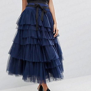 cheap Wedding Slips-Women's Daily Wear Basic Maxi Skirts Solid Colored Tulle