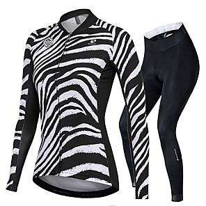 cheap Cycling Jersey & Shorts / Pants Sets-Nuckily Women's Long Sleeve Cycling Jersey with Tights Black / White Zebra Bike Sports Zebra Road Bike Cycling Clothing Apparel
