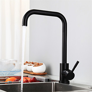 cheap Kitchen Faucets-Stainless steel black kitchen faucet European style baking paint hot and cold rotatable sink washing basin faucet