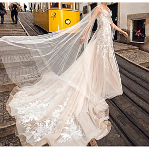 cheap Car DVD Players-A-Line Wedding Dresses Jewel Neck Chapel Train Lace Tulle Sleeveless Sexy See-Through Cape with Embroidery 2020