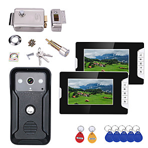 cheap Video Door Phone Systems-7 Inch 2Monitors Video Intercom Door Phone RFID System with HD Doorbell 1000TVL Camera with Home Stainless Steel Electronic Door Lock