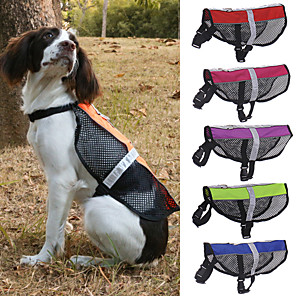 cheap Dog Clothes-Dog Pets Harness Mesh Harness Reflective Adjustable Size Breathability Vest Adjustable Flexible Safety Color Block Mesh Classic Polyester Small Dog Medium Dog Large Dog Purple Red 1pc
