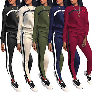 cheap Women's Tracksuits-Women's 2 Piece Patchwork Tracksuit Sweatsuit Jogging Suit Street Casual Winter Long Sleeve Windproof Lightweight Breathable Fitness Gym Workout Running Jogging Exercise Sportswear Sweatshirt