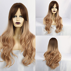 cheap Synthetic Trendy Wigs-Synthetic Wig Curly Matte Middle Part With Bangs Wig Long Light Blonde Synthetic Hair 28 inch Women's Exquisite curling Blonde