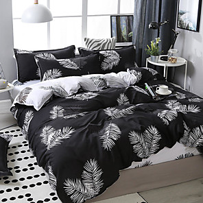 cheap Duvet Covers-Dark system leaves printing pattern bedding four-piece quilt cover bed sheet pillow cover dormitory single double