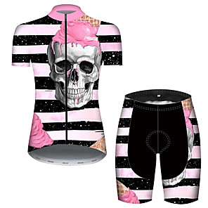 cheap Cycling Jerseys-21Grams Women's Short Sleeve Cycling Jersey with Shorts Black / White Skull Bike Breathable Quick Dry Sports Patterned Mountain Bike MTB Road Bike Cycling Clothing Apparel / Micro-elastic