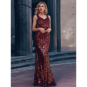 cheap Prom Dresses-Mermaid / Trumpet Glittering Beautiful Back Wedding Guest Prom Formal Evening Dress Off Shoulder Short Sleeve Floor Length Polyester with Sequin 2020