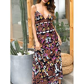 cheap Toy Cars-Women's Maxi A Line Dress - Sleeveless Floral Summer Strap Elegant 2020 Brown M L XL XXL