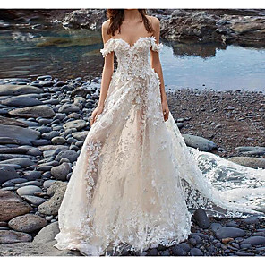 cheap Bridesmaid Dresses-A-Line Wedding Dresses Off Shoulder Court Train Lace Tulle Sleeveless Beach Sexy See-Through with Embroidery Appliques 2020