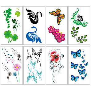 cheap Tattoo Stickers-8 pcs Temporary Tattoos Water Resistant / Waterproof / Mini Style / Safety Face / Body / Hand Water-Transfer Sticker Body Painting Colors