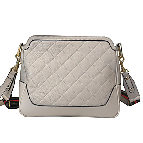 cheap Handbag & Totes-Women's Bags Cowhide Crossbody Bag Zipper for Daily White / Black / Red / Fall & Winter