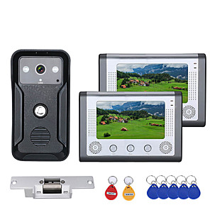 cheap Video Door Phone Systems-7 Inch 2 Monitors Color Video Intercom Door Phone RFID System with HD Doorbell 1000TVL Camera with Electric Strike Lock