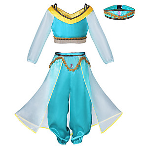 cheap Movie & TV Theme Costumes-Princess Princess Jasmine Cosplay Costume Outfits Girls' Movie Cosplay Cosplay Halloween Blue Top Pants Headwear Children's Day Masquerade Tulle Polyester