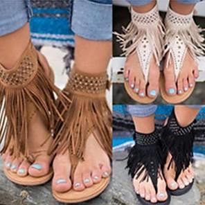 cheap Women's Sandals-Women's Sandals Flat Sandal Summer Flat Heel Open Toe Daily Tassel PU Black / Brown / Beige