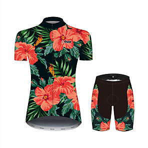 cheap Cycling Jersey & Shorts / Pants Sets-21Grams Floral Botanical Hawaii Women's Short Sleeve Cycling Jersey with Shorts - Black / Red Bike Clothing Suit Breathable Quick Dry Moisture Wicking Sports 100% Polyester Mountain Bike MTB Clothing