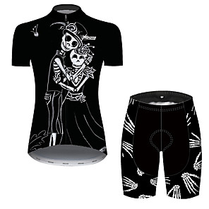 cheap Cycling Jersey & Shorts / Pants Sets-21Grams Women's Short Sleeve Cycling Jersey with Shorts Black / White Skull Bone Bike Clothing Suit Breathable 3D Pad Quick Dry Ultraviolet Resistant Reflective Strips Sports Skull Mountain Bike MTB