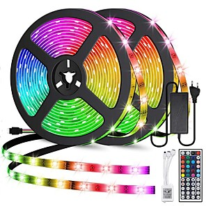 cheap Neon LED Lights-ZDM 2x5M LED Light Strips Light Sets RGB Tiktok Lights 60pcs/Meter 2835 SMD 8mm with 44Key IR Controller 12V 3A Desktop Power Supply Soft Light Strip Kit