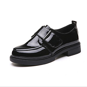 cheap Women's Boots-Women's Loafers & Slip-Ons Spring & Summer Low Heel Round Toe Daily Solid Colored PU Black