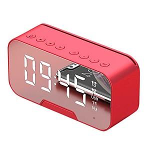 abordables Haut-parleur bluetooth-miroir surface affichage intelligent réveil haut-parleur bluetooth avec film vibrant haut-parleur portable mini mp3 lecteur audio support aux tf pour ordinateur portable