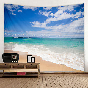 cheap Wall Stickers-Blue Sky And White Cloud Beach Digital Printed Tapestry Decor Wall Art Tablecloths Bedspread Picnic Blanket Beach Throw Tapestries Colorful Bedroom Hall Dorm Living Room Hanging