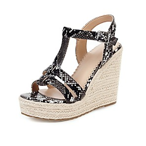 cheap Wedding Shoes-Women's Sandals Wedge Sandals Black Sandals White Sandals Fall / Spring & Summer Wedge Heel Open Toe Vintage British Party & Evening Office & Career PU White / Black / Brown