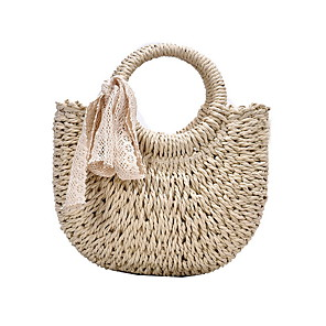 cheap Handbag & Totes-Women's Bags Straw Top Handle Bag Hollow-out for Daily Khaki / Beige / Straw Bag
