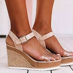 cheap Women's Sandals-Women's Sandals Wedge Sandals 2020 Summer Wedge Heel Open Toe Classic Basic Daily Outdoor Color Block PU Walking Shoes Black / White / Black / Pink / Clear / Transparent / PVC