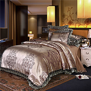 cheap Duvet Cover Sets-Tribute Satin Jacquard four-piece set silk quilt set double tencel bed linen wedding european-style bedding