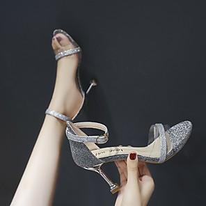 cheap Women's Sandals-Women's Heels / Sandals 2020 Heel Sandals Spring / Summer Pumps Open Toe Sexy Sweet Wedding Daily PU Black / Gold / Silver