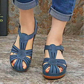 cheap Women's Sandals-Women's Sandals Wedge Sandals Summer Wedge Heel Round Toe Daily PU Black / Orange / Blue