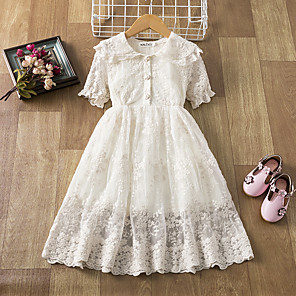 cheap Girls' Dresses-Kids Girls' Active Cute Solid Colored Lace Short Sleeve Knee-length Dress White