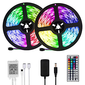 cheap Indoor Wall Lights-LOENDE 32.8ft 10M LED Light Strips RGB Tiktok Lights 600LEDs Flexible Color Change SMD 2835 with 44 Keys IR Remote Controller and 100-240V Power Supply for Home Bedroom Kitchen TV Back Lights DIY Deco